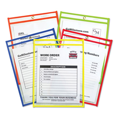CLI43910 - C-Line ProductsStitched Shop Ticket Holders, Assorted Neon Colors, 9 x 12