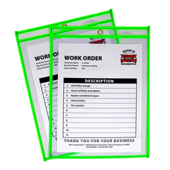 CLI43913 - C-Line ProductsNeon Shop Ticket Holders, Green, Stitched, Both Sides Clear, 9 x 12