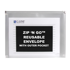 CLI48117BNDL4PK - C-Line Products - Zip N Go Reusable Envelope w/Outer Pocket, Clear