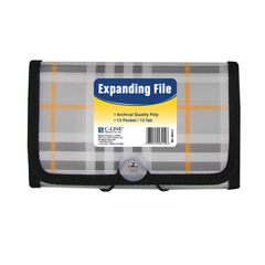 CLI58412BNDL6EA - C-Line Products13-Pocket Coupon Size Expanding File, Plaid