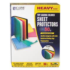 CLI62010 - C-Line ProductsColored Polypropylene Sheet Protectors, Assorted Colors, 11 x 8 1/2
