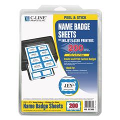 CLI92365 - C-Line ProductsLaser Printer Name Badges, Blue Border, 8/Sheet, 3 3/8 x 2 1/3