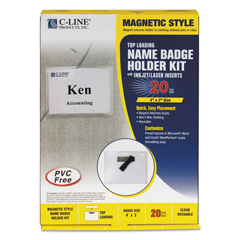 CLI92943 - C-Line ProductsMagnetic Style Name Badge Kit, Clear, 4 x 3