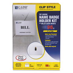 CLI95596 - C-Line ProductsClip Style Name Badge Holders, Sealed w/Inserts, 4 x 3