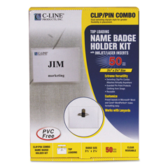 CLI95723 - C-Line ProductsClip/Pin Combo Style Name Badges, Sealed w/Inserts, 3 1/2 x 2 1/4