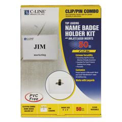 CLI95743 - C-Line ProductsClip/Pin Combo Style Name Badges, Sealed w/Inserts, 4 x 3