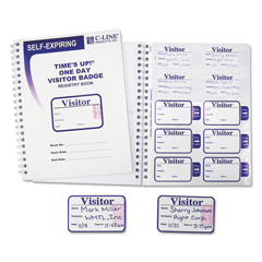 CLI97009 - C-Line ProductsTimes Up! Self-Expiring Visitor Badges w/Registry Log