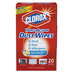 CLO31313CT - Clorox® Triple Action Dust Wipes