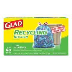CLO78542BX - Glad® Tall Kitchen Blue Recycling Bags