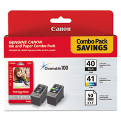 CNM0615B009 - Canon 0615B009 Inks  Paper Pack Combo, PG-40, CL-41, PG-502, 50 Glossy 4 x 6 Sheets