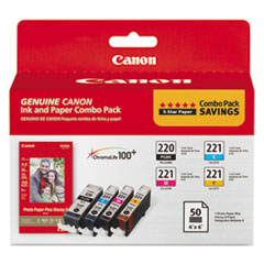 CNM2945B011 - Canon 2945B011 Inks  Paper Pack, PGI-220, CLI-221, Black; Tri-Color