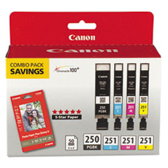 CNM6497B004 - Canon 6497B004 Inks  Paper Pack,PGI-250 BK,CLI-251,4 Inks  50 Sheets 4x6 Paper, CMYK