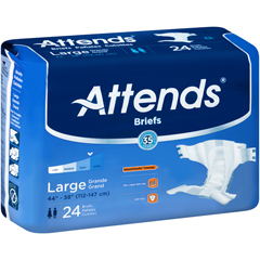MON30503110 - AttendsIncontinent Brief Attends Tab Closure Large Disposable Moderate Absorbency