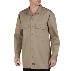 DKI549-KH-M - DickiesMens Long Sleeve Heavyweight Cotton Work Shirt