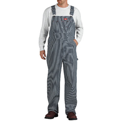 DKI83297-HS-42-32 - DickiesMens Hickory Stripe Zip-Fly Bib Overalls