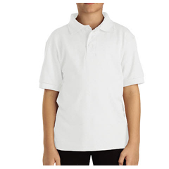 DKIKS4552-WH-M - DickiesKids Short Sleeve Pique Polo Shirts