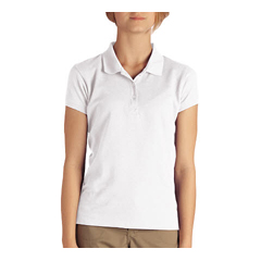 DKIKS952-WH-M - DickiesGirls Short Sleeve Pique Polo Shirts
