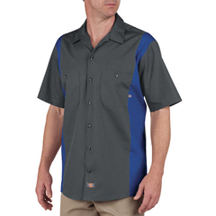 DKILS524-CHRB-2T - DickiesMens Short Sleeve Two-Tone Industrial Shirt