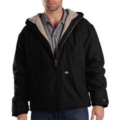 DKITJ350-RBK-L-TL - DickiesMens Sanded Duck Sherpa Lined Hooded Jacket
