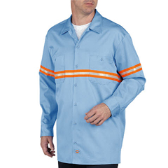 DKIVL101-LB-M - DickiesMens Long Sleeve Enhanced Visibility Work Shirts