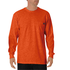 DKIWL450-OR-3T - DickiesMens Long Sleeve Heavyweight Crew Neck Tee Shirts