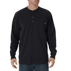 DKIWL451-BK-XL - DickiesMens Long Sleeve Heavyweight Henley Tee
