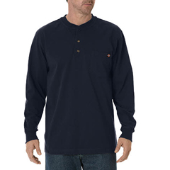 DKIWL451-DN-L - DickiesMens Long Sleeve Heavyweight Henley Tee