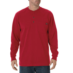 DKIWL451-ER-LT - DickiesMens Long Sleeve Heavyweight Henley Tee