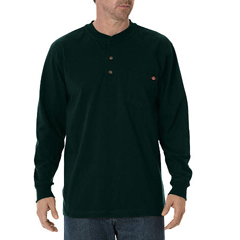 DKIWL451-GH-M - DickiesMens Long Sleeve Heavyweight Henley Tee