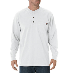 DKIWL451-WH-3T - DickiesMens Long Sleeve Heavyweight Henley Tee