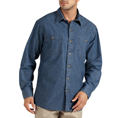 DKIWL626-RDDC-2X - DickiesMens Long Sleeve Relaxed-Fit Denim Shirts