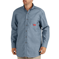 DKIRL300-BU-M - Dickies FRMens Flame Resistant Long Sleeve Chambray Shirt