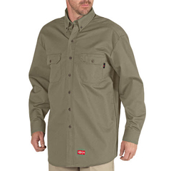 DKIRL301-KH-2X - Dickies FRMens Flame Resistant Long Sleeve Twill Button-Down Shirt