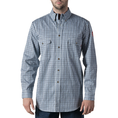 DKIYL149NVG-MD-0R - Walls FRMens Flame Resistant Plaid Workshirt
