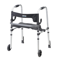 10233 - Drive MedicalClever Lite LS Rollator Walker w/Seat & Push Down Brakes