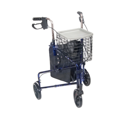 10289BL - Drive Medical3 Wheel Walker Rollator with Basket Tray and Pouch, Flame Blue