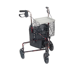 10289RD - Drive Medical - 3 Wheel Flame Red Rollator Walker w/Basket Tray & Pouch