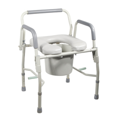 11125PSKD-1 - Drive MedicalSteel Drop Arm Bedside Commode with Padded Seat & Arms