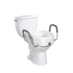 12013 - Drive MedicalPremium Plastic Raised Toilet Seat with Lock and Padded Armrests, Elongated