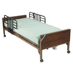 15030BV-PKG-1 - Drive Medical - Delta Ultra Light Semi Electric Hospital Bed with Half Rails and Innerspring Mattress