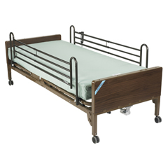 15030BV-PKG-2 - Drive Medical - Delta Ultra Light Semi Electric Hospital Bed with Full Rails and Foam Mattress