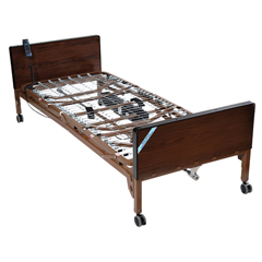 15030BV-PKG-T - Drive MedicalDelta Ultra Light Semi Electric Hospital Bed with Full Rails and Therapeutic Support Mattress