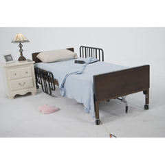 15201BV - Drive Medical - No Gap Half Length Side Bed Rails with Brown Vein Finish, 1 Pair