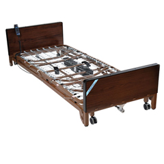 15235BV-PKG - Drive MedicalDelta Ultra Light Full Electric Low Bed w/Full Rails & Innerspring Mattress