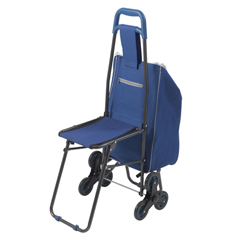 DRV607BL - Drive MedicalDeluxe Rolling Shopping Cart with Seat, Blue