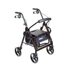 795BK - Drive Medical - Duet Dual Function Transport Wheelchair Walker Rollator, Black