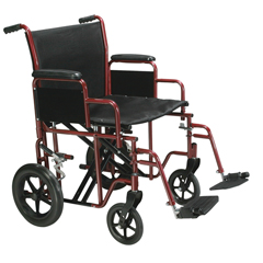 BTR22-R - Drive MedicalBariatric Heavy Duty Red Transport Wheelchair w/Swing Away Footrest