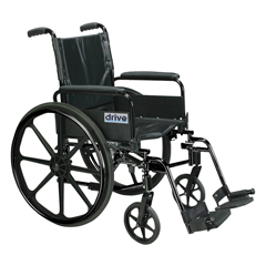 DRVC420ADFASV-SF - Drive MedicalCirrus IV Lightweight Dual Axle Wheelchair with Adjustable Arms, Detachable Full Arms, Swing Away Footrests, 20 Seat