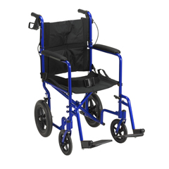 EXP19LTBL - Drive MedicalLightweight Expedition Transport Wheelchair with Hand Brakes