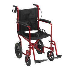 EXP19LTRD - Drive MedicalLightweight Expedition Red Transport Wheelchair w/Hand Brakes, 1EA/CS